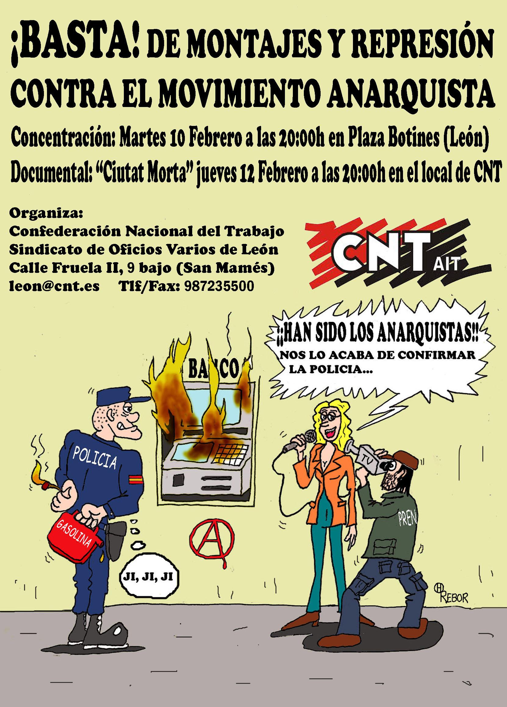 Concentración Basta de montajes y represión contra el movimiento anarquista,