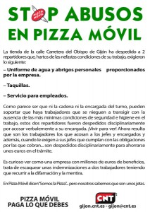 Concentración stop abusos y despidos en Pizza Movil