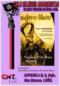 Viernes 27 de Mayo- Ciclo Cultural de Mujeres Anarquistas