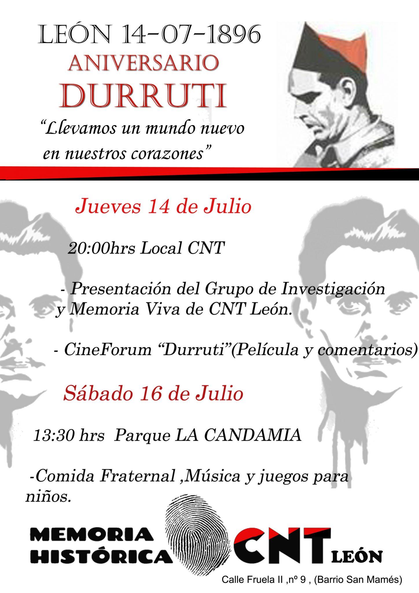 ANIVERSARIO DURRUTI 14-16 de Julio
