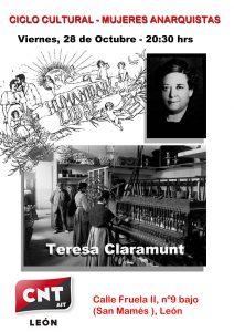 CICLO MUJERES ANARQUISTAS- Teresa Claramunt, (Viernes  28 de Octubre).
