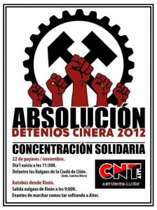 22 de Noviembre – Concentración en apoyo a los detenidos de Ciñera2012