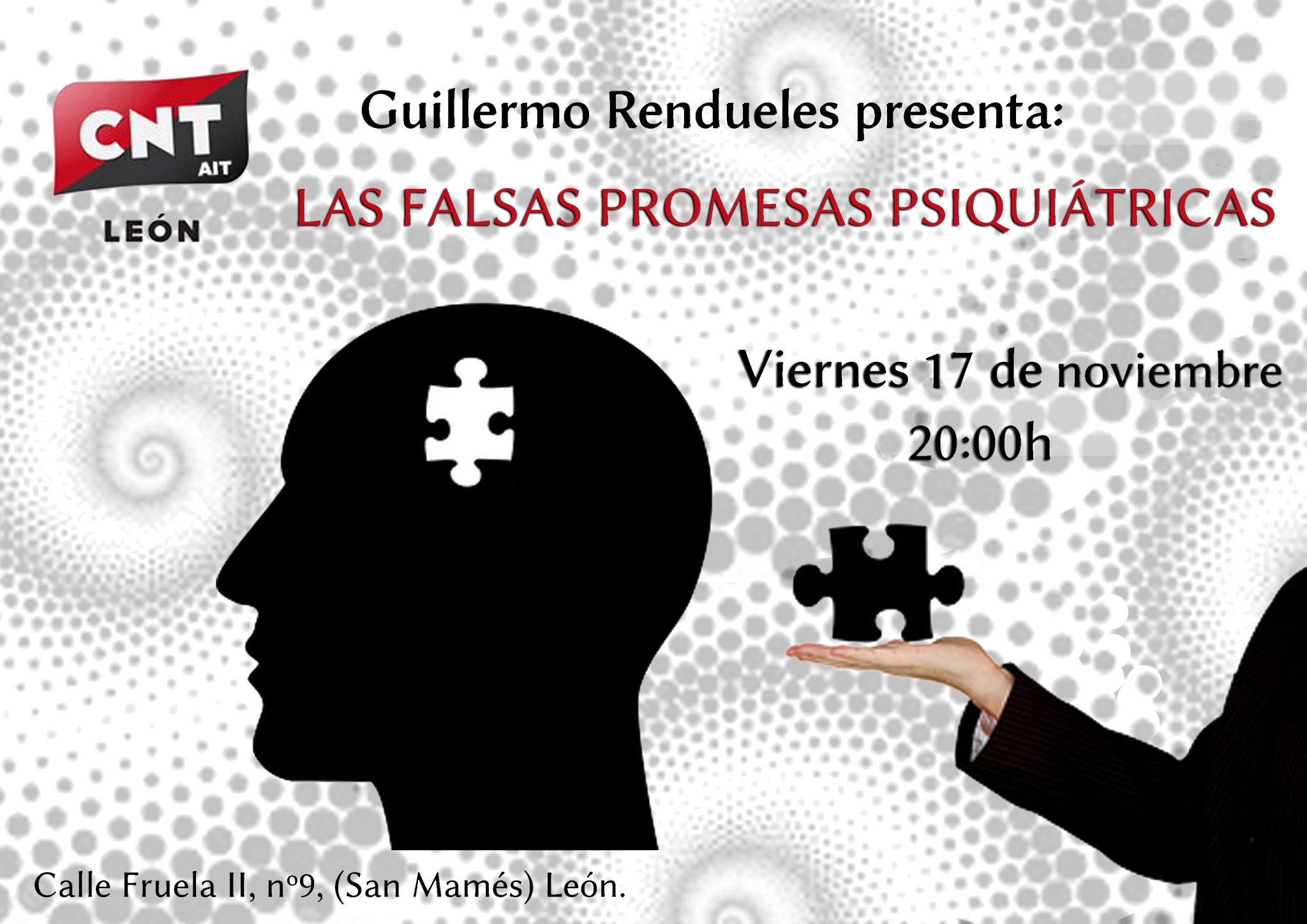 17 de noviembre: Presentación del libro «Las falsas promesas psiquiátricas» de Guillermo Rendueles