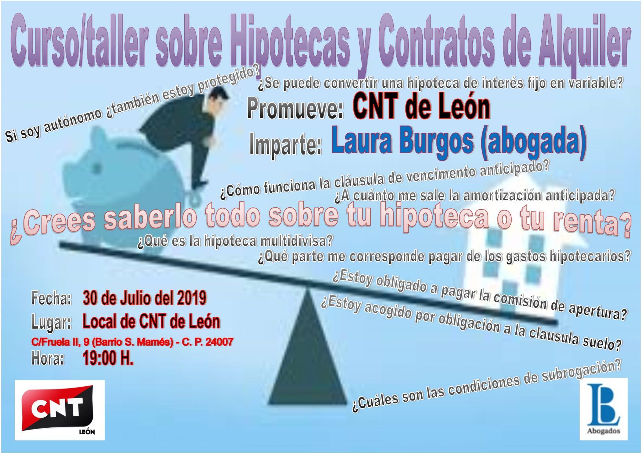 Curso/taller sobre hipotecas y contratos de alquiler