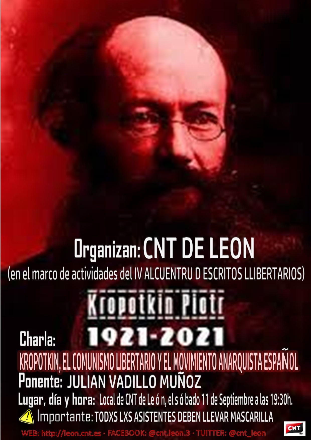 Charla: KROPOTKIN, EL COMUNISMO LIBERTARIO Y EL MOVIMIENTO ANARQUISTA ESPAÑOL